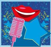Cartão da noite do karaoke ilustração do vetor