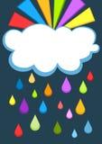Cartão da nuvem do arco-íris e de chuva ilustração royalty free