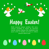 Cartão da Páscoa com anjos e ovos Imagem de Stock