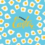 Cartão da Páscoa com ovos e rotulação da Páscoa feliz! ilustração stock