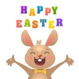 Cart?o da P?scoa de ?Happy do ?do ? ?? de ???? com coelho Coelhinho da P?scoa bonito com as cenouras coloridas da American Nation ilustração do vetor