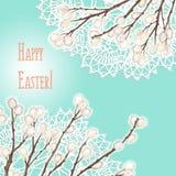 Cartão da Páscoa - entregue a ilustração tirada com doilies e bichano-salgueiro ilustração royalty free