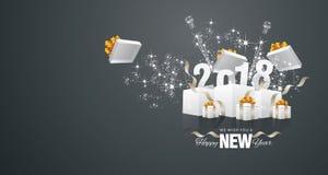 Cartão 2018 da paisagem do preto da caixa do fogo de artifício do ano novo feliz ilustração stock