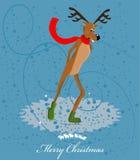 Cartão da patinagem de gelo da rena Fotos de Stock