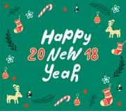 Cartão da rotulação do ano novo feliz Fotografia de Stock