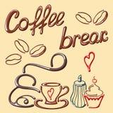Cartão da ruptura de café com elementos do café Imagens de Stock