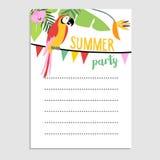 Cartão da selva do verão, convite Pássaro do papagaio, folhas de palmeira, flores do strelitzia Bandeiras do partido Bandeira da  Imagens de Stock