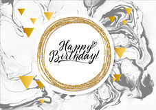 Cartão da textura do mármore do preto do feliz aniversario Vislumbrar o molde dourado da bandeira no fundo branco Ouro da ilustra Fotografia de Stock Royalty Free