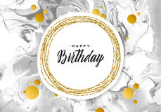 Cartão da textura do mármore do preto do feliz aniversario Vislumbrar o molde dourado da bandeira no fundo branco Ouro da ilustra Fotos de Stock Royalty Free