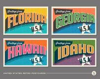 Cartão da tipografia do vintage do Estados Unidos ilustração stock