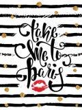 Cartão da tipografia, t-shirt, cópia da caneca Fundo de Paris com slogan Foto de Stock Royalty Free