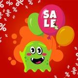 Cartão da venda com monstro bonito Bandeira do disconto da compra do balão da promoção ilustração stock