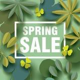 Cartão da venda da mola com elementos florais diferentes nas máscaras do verde Foto de Stock