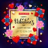 Cartão da venda do dia de Valentim com corações, flores, caixa de presente e mão Imagens de Stock