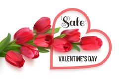 Cartão da venda do dia de Valentim com tulipas ilustração stock