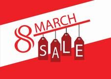 Cartão da venda para mulheres ` s dia o 8 de março internacional Imagem de Stock Royalty Free