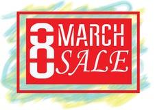 Cartão da venda para mulheres ` s dia o 8 de março internacional Fotografia de Stock