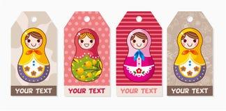 Cartão das bonecas do russo Fotografia de Stock