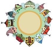 Cartão das casas engraçadas Imagem de Stock Royalty Free