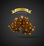 Cartão das celebrações do Natal com os sinos de tinir dourados brilhantes e o efeito das luzes Fotografia de Stock