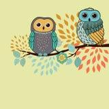Cartão das corujas ilustração royalty free