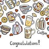 Cartão das felicitações com os acessórios do chá da garatuja no fundo branco Imagens de Stock