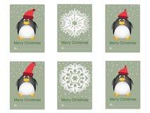 Cartão das felicitações com pinguins Imagens de Stock Royalty Free