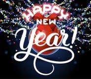 Cartão das felicitações da rotulação do ano novo feliz Fotografia de Stock Royalty Free