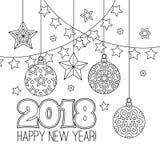 Cartão das felicitações do ano novo com números 2018, bolas do Natal, estrelas, festões Livro para colorir Antistress para adulto ilustração royalty free