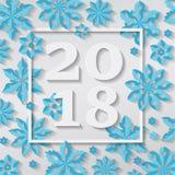 Cartão 2018 das felicitações do feriado do floco de neve do Feliz Natal do ano novo feliz Fotos de Stock Royalty Free