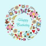 Cartão das felicitações para a celebração na grinalda floral do formulário Fotografia de Stock