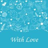 Cartão das felicitações para a celebração no fundo azul Foto de Stock