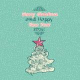 Cartão das garatujas do Feliz Natal do vintage Foto de Stock Royalty Free