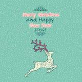 Cartão das garatujas do Feliz Natal do vintage com cervos Imagens de Stock Royalty Free