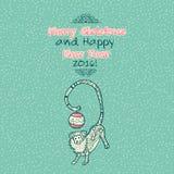 Cartão das garatujas do Feliz Natal do vintage com macaco Imagens de Stock Royalty Free