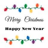 Cartão das luzes de Natal Imagem de Stock Royalty Free