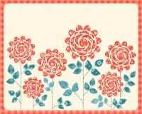 Cartão das rosas dos retalhos. Fotografia de Stock Royalty Free
