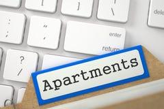 Cartão de índice com apartamentos da inscrição 3d Foto de Stock