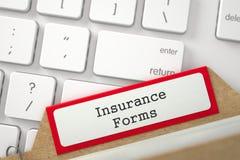 Cartão de índice com formulários do seguro da inscrição 3d Fotografia de Stock