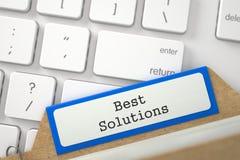 Cartão de índice com melhores soluções da inscrição 3d Foto de Stock
