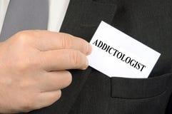 Cartão de Addictologist imagem de stock