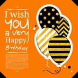 Cartão de aniversário ao estilo dos entalhes com os balões no fundo dourado do brilho Vetor ilustração do vetor