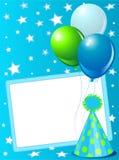 Cartão de aniversário azul Fotografia de Stock