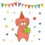 Cartão de aniversário bonito, bandeira ilustração stock