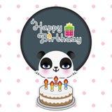 Cartão de aniversário bonito da panda Fotos de Stock