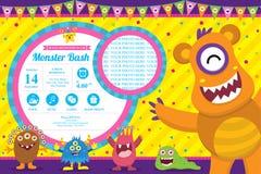 Cartão de aniversário bonito do convite do monstro ilustração royalty free
