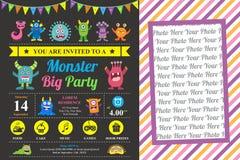 Cartão de aniversário bonito do convite do monstro ilustração stock