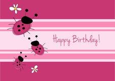 Cartão de aniversário bonito do ladybirg imagens de stock royalty free