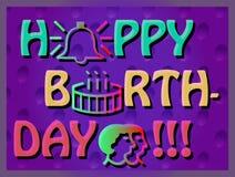 Cartão de aniversário colorido Fotos de Stock Royalty Free