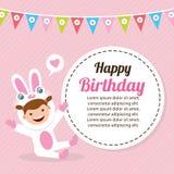 Cartão de aniversário com as crianças no traje animal Imagem de Stock Royalty Free